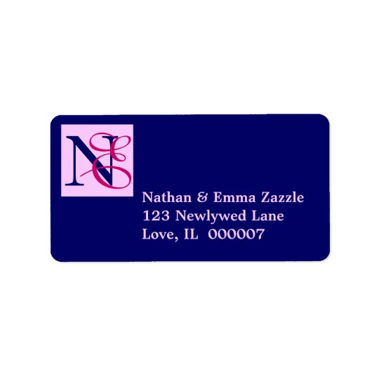 Entwined initials monogram address label