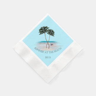 Entwined Palm Trees Summer Beach Custom Napkins Disposable Serviette