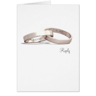 Entwined Rings Gold NI - Reply Card