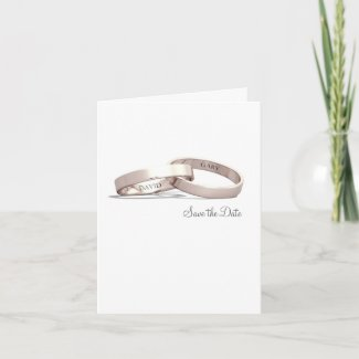 Entwined Rings Gold NI - Save the Date Card