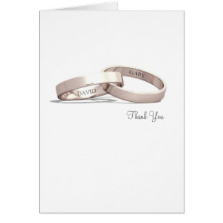 Entwined Rings Gold NI - Thank You Card