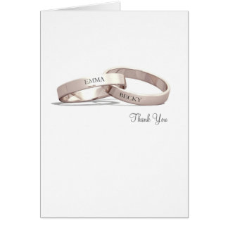 Entwined Rings Gold - Thank You Card