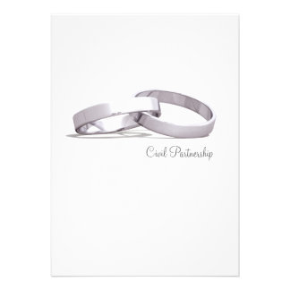 Entwined Rings Silver BLK Civil Partnership Invite
