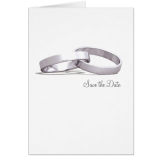 Entwined Rings Silver BLK - Save the Date Card