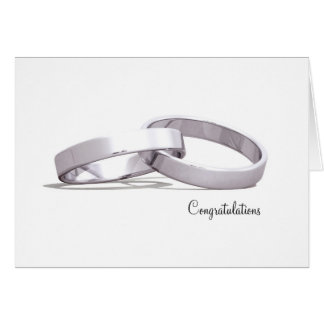 Entwined Rings Silver - Congratulations cards