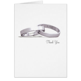 Entwined Rings Silver NI - Thank You Card