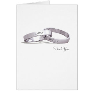 Entwined Rings Silver - Thank You Card