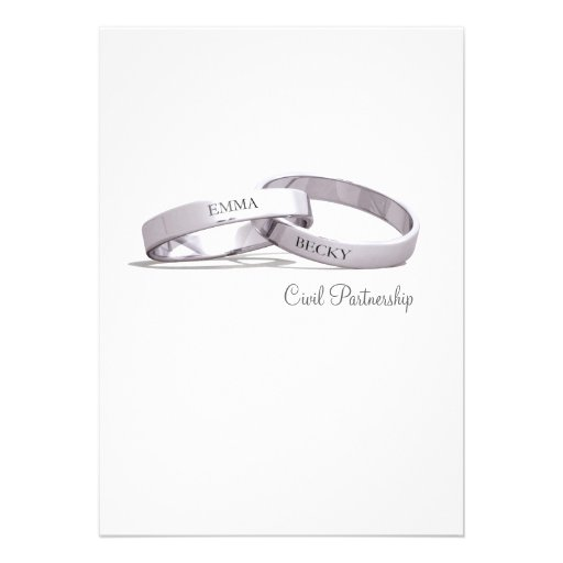 Entwined Silver Rings - Civil Partnership Invite
