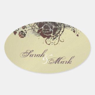 Envelope Seal Cream & Red Rose Elegant Wedding Oval Sticker