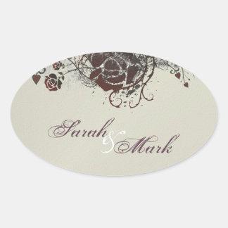 Envelope Seal Ivory & Red Rose Elegant Wedding Sticker