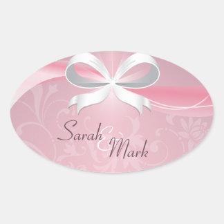 Envelope Seal Pink & White Floral Ribbon Wedding Stickers