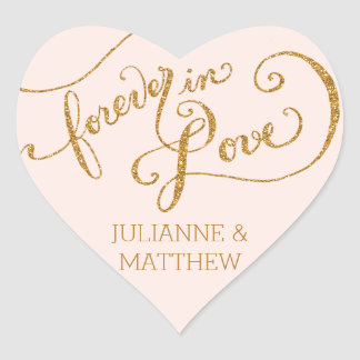 Envelope Seals Script Forever in Love Gold Glitter Heart Sticker