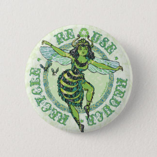 Enviro Green Bee Earth Day Gear 6 Cm Round Badge
