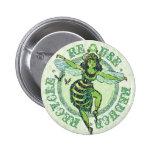Enviro Green Bee Earth Day Gear 6 Cm Round Badge