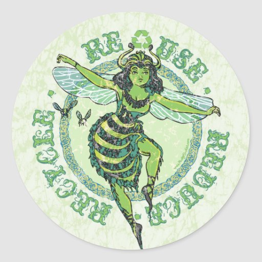 Enviro Green Bee Earth Day Gear Round Stickers