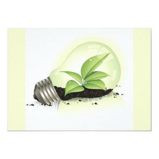 Environment Lightbulb greens plants soil causes en 13 Cm X 18 Cm Invitation Card