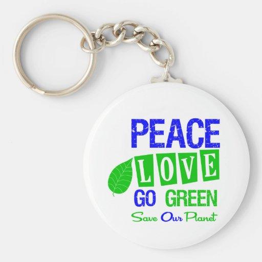 Environment Peace Love Go Green v2 Keychains