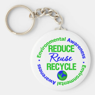 Environment Reduce Reuse Recycle Keychain