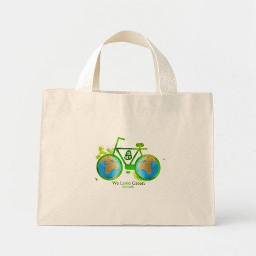 Environmental eco-friendly green bike bag women