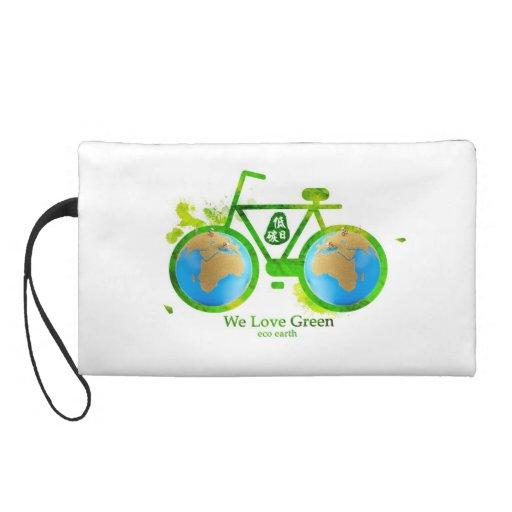 Environmental eco-friendly green bike bag Wristlet