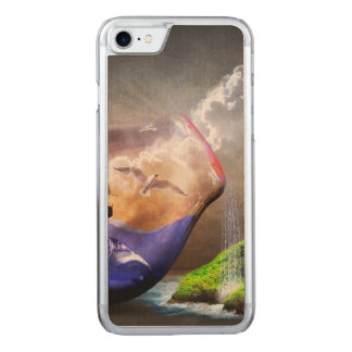Environmental Protection Sea Turtle & Ship Picture Carved iPhone 8/7 Case