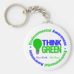 Environmental THINK GREEN Bulb Basic Round Button Key Ring