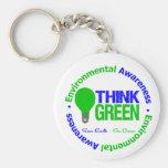 Environmental THINK GREEN Bulb Basic Round Button Key Ring