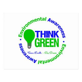 Environmental THINK GREEN Bulb Postcard