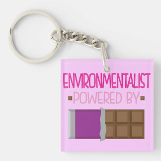Environmentalist chocolate Gift for Her Double-Sided Square Acrylic Key Ring