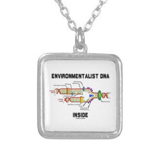 Environmentalist DNA Inside (DNA Replication) Square Pendant Necklace