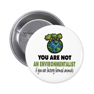 Environmentalist = Vegan, Vegetarian 6 Cm Round Badge