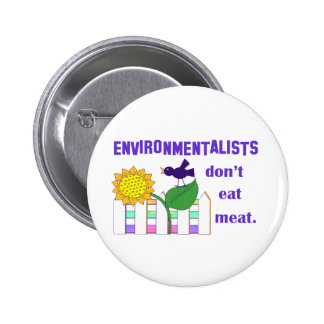 ENVIRONMENTALISTS DON'T EAT MEAT PINBACK BUTTON