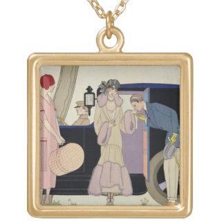 Envy, 1914 (pochoir print) gold plated necklace