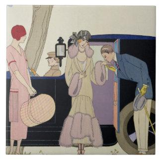 Envy, 1914 (pochoir print) large square tile