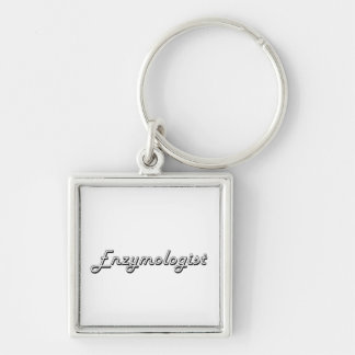 Enzymologist Classic Job Design Silver-Colored Square Key Ring