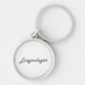 Enzymologist Classic Job Design Silver-Colored Round Key Ring
