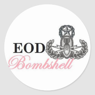eod master bombshell classic round sticker