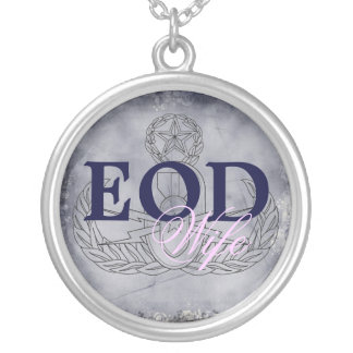 EOD Wife pink/dark blue Silver Plated Necklace