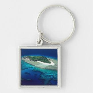 Eori Island, Mamanuca Islands, Fiji - aerial Silver-Colored Square Key Ring