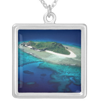 Eori Island, Mamanuca Islands, Fiji - aerial Silver Plated Necklace