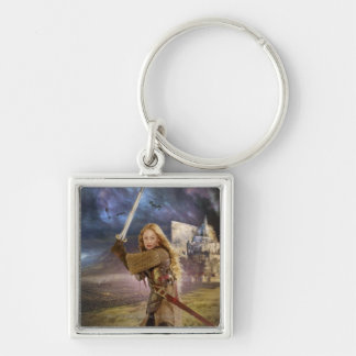 Eowyn Raises Sword Silver-Colored Square Key Ring