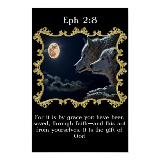 Eph 2:8 Wolves looking into the full moon.