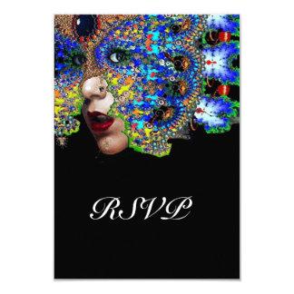 EPHEMERAL Classy Mardi Gras Masquerade Ball Rsvp 9 Cm X 13 Cm Invitation Card