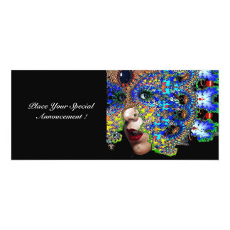 EPHEMERAL ,halloween masquerade ball, blue mask 10 Cm X 24 Cm Invitation Card