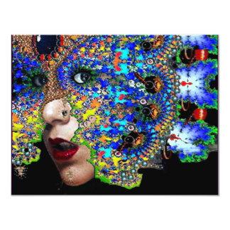 EPHEMERAL halloween masquerade ball, blue mask 11 Cm X 14 Cm Invitation Card