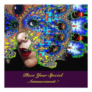EPHEMERAL Halloween Masquerade Ball Blue Mask Personalized Announcements
