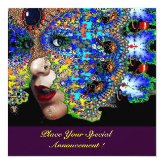 EPHEMERAL ,Halloween Masquerade Ball, Blue Mask 5.25x5.25 Square Paper Invitation Card