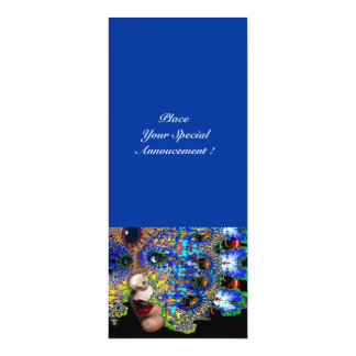 EPHEMERAL Mardi Gras Masquerade Ball ,Blue Mask 10 Cm X 24 Cm Invitation Card