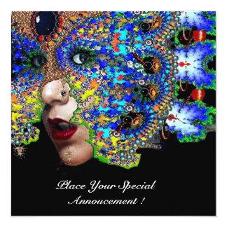 EPHEMERAL Mardi Gras Masquerade Ball, Blue Mask 13 Cm X 13 Cm Square Invitation Card