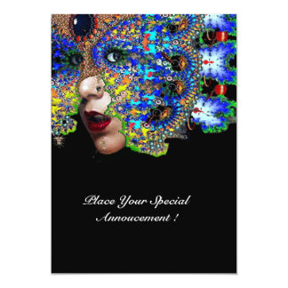 EPHEMERAL Mardi Gras Masquerade Ball ,Blue Mask 13 Cm X 18 Cm Invitation Card